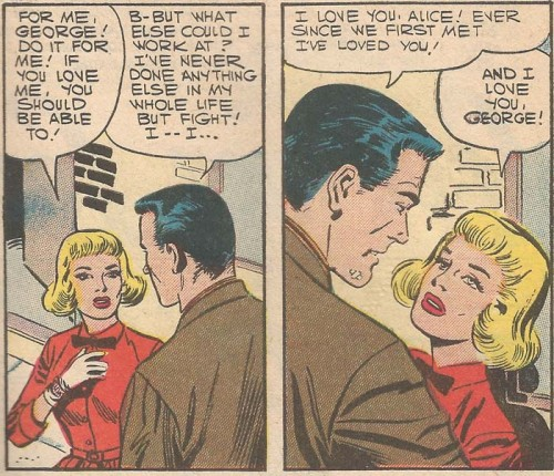 "Original art from ""Love Him... Love What He Does""  in First Kiss #2, 1958"