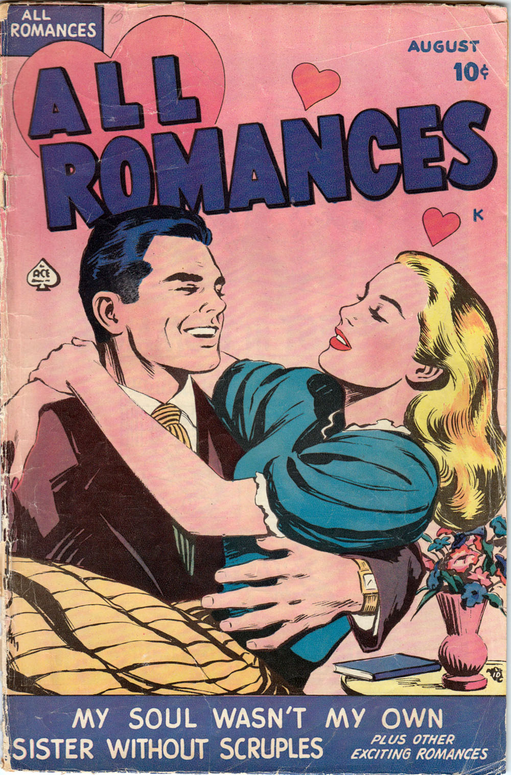 Art---possibly penciled and inked by Alice Kirkpatrick. All Romance #1, 1949.