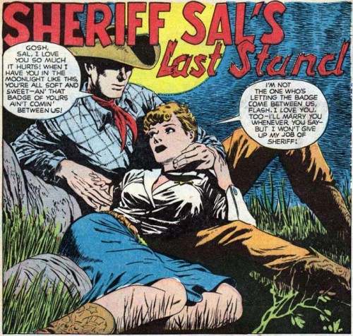 Pencils possibly by Ward King. This appeared in Western Love Trails #7.