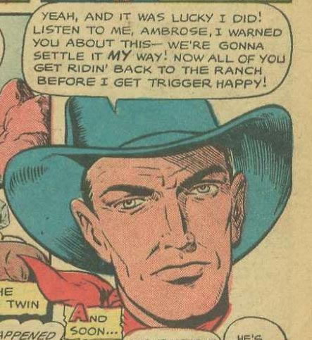 Listen up, ya lily-livered dude. This was originally published in Cowgirl Romances #2, 1950. Artist unknown.