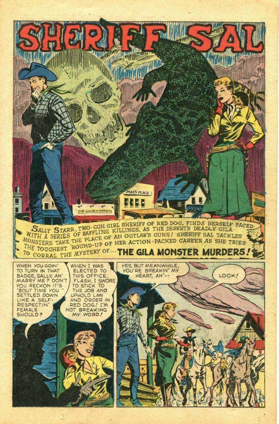 "Page 1 of ""The Gila Monster Murders"" in Western Adventures #6, 1949. Drawn by Art by Ward King."