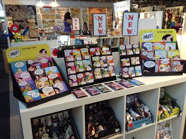 Displays of some of the Last Kiss products produced by Pop Art Funnies Finland.