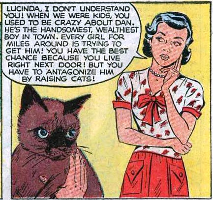 Artist unknown. Art from Ten-Story Love #196, 1954.