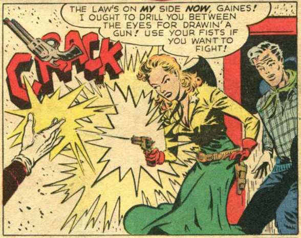 "Art by Ward Kind from the Sheriff Sal story ""The Gila Monster Murders"" in Western Adventures #6, 1949."