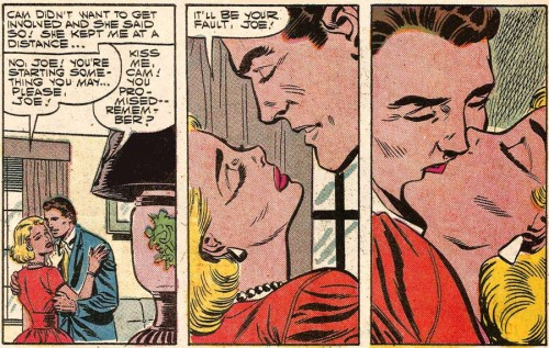 Art by Charles Nicholas and Sal Trapani from First Kiss #1, 1957. Click on image to enlarge.