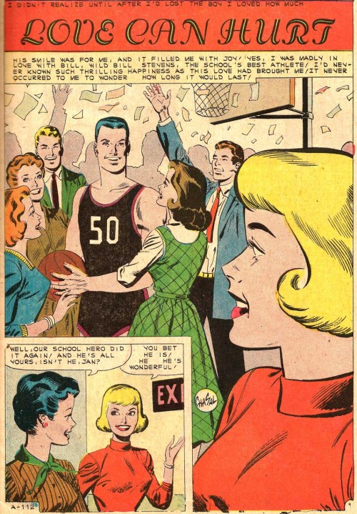 This first appeared in First Kiss #19, 1961. Art by Charles Nicholas and Sal Trapani. It was probably written by Joe Gill.