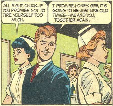 Art by John Tartaglione & Dick Giordano. From Nurse Linda Lark #6, 1963.