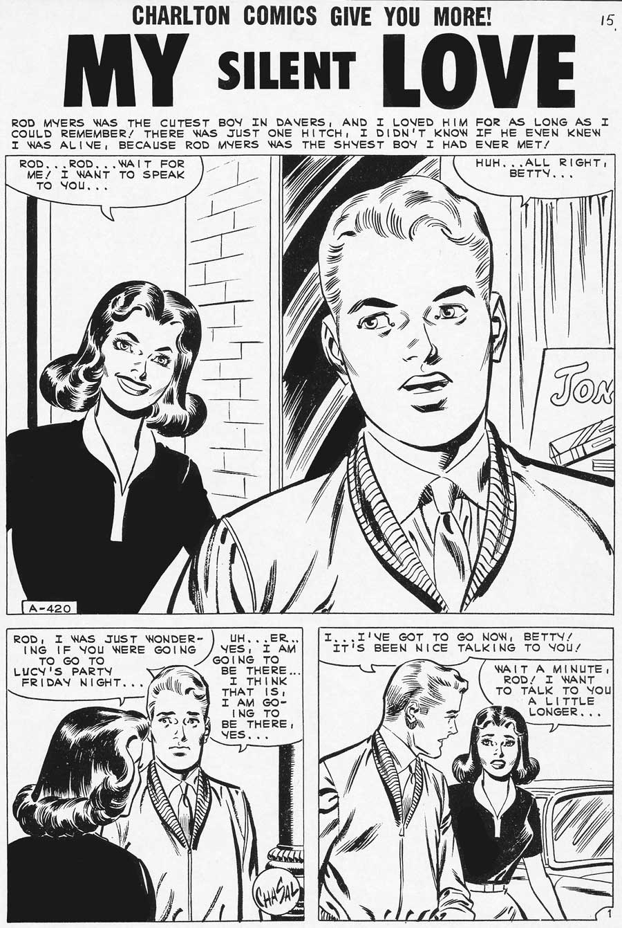 Art by ChaSal (Charles Nicholas & Sal Trapani) in First Kiss #21, 1961.
