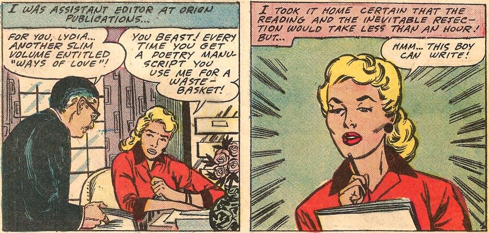 Original art by John Tartaglione from First Kiss #5, 1958.