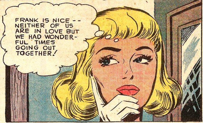 Art by Charles Nicholas & Vince Alascia from First Kiss #7, 1959.