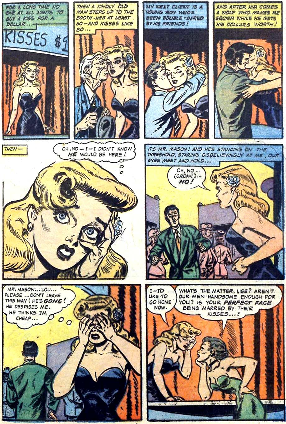 A page from Great Lover Romance #14, 1954. Artist unknown.