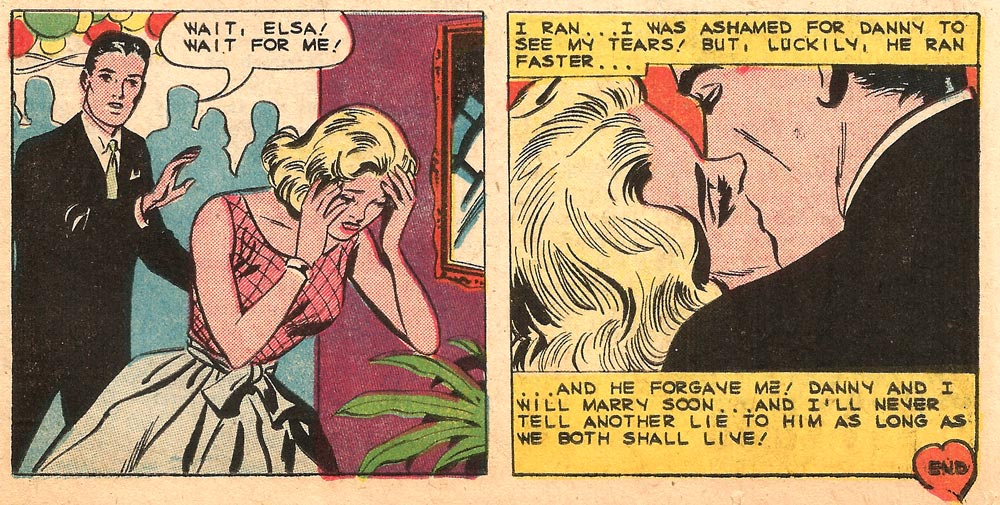 Art by Charles Nicholas & Vince Alascia. From First Kiss #11, 1959. Click on art to enlarge.