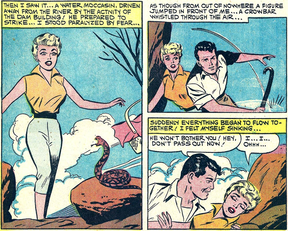 Artist unknown. Originally appeared in First Kiss #17, 1960. Click on art to enlarge.