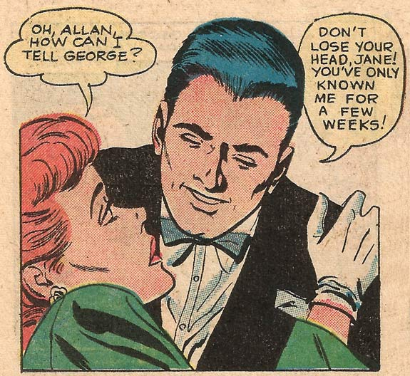 Art by Charles Nicholas & Dick Giordano from First Kiss #7, 1959.