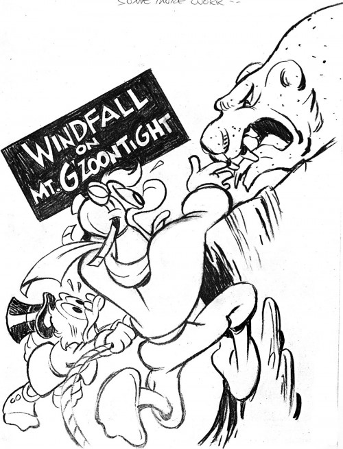 "Alternative cover sketch by William Van Horn from one of our first stories together ""Windfall on Mt. G'zoontight"" in DuckTales #7, 1989."