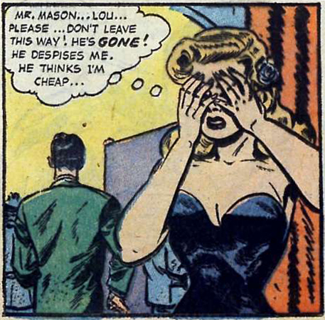 Art possibly by Jack Sparling. From Great Lover Romances #14, 1954.