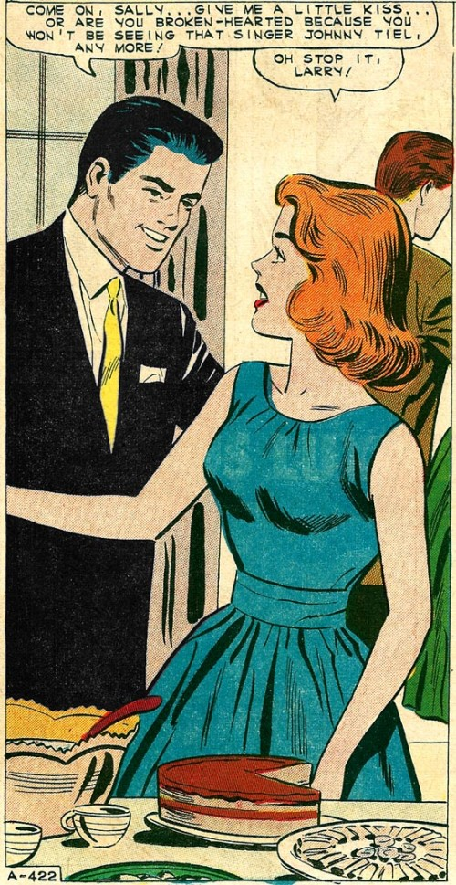 Art by Charles Nicholas and Vince Alascia from First Kiss #21, 1961.