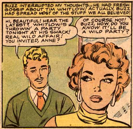 "Art by Vince Colletta Studio from ""The Terrible Stranger"" in BRIDES IN LOVE #10, 1958."