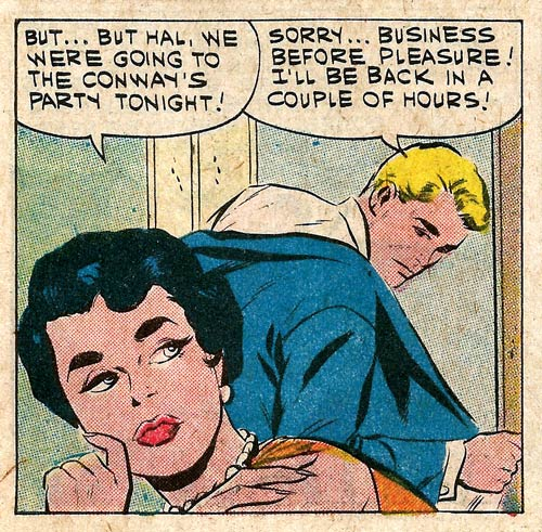 "Art by Vince Colletta Studio from ""A Bouquet of Roses"" in First Kiss #20, 1961."