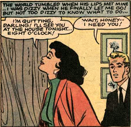 "Art by Vince Colletta Studio from ""His Future Bride"" in BRIDES IN LOVE #10, 1958."