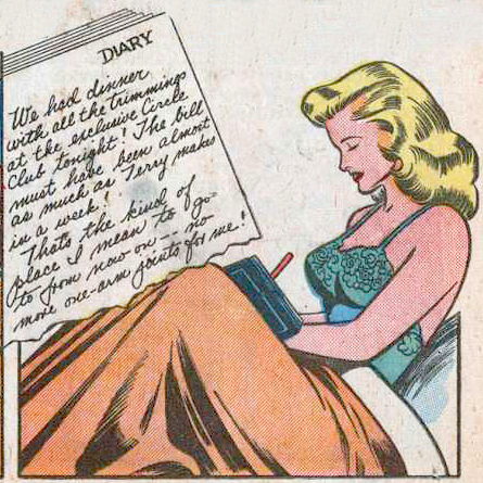 Art by Alice Kirkpatrick & Bill Ward from Diary Loves #5, 1950.
