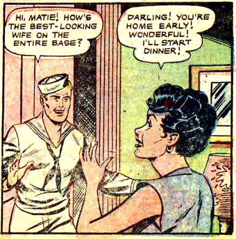 "Artist unknown from ""Navy Bride"" in G.I. War Brides #1, 1954."