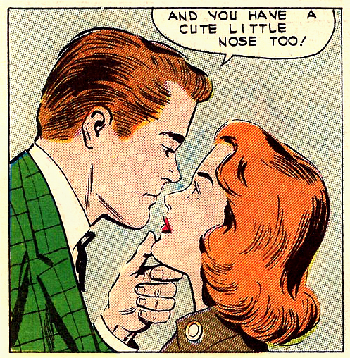 "Art by Charles Nicholas & Vince Alascia from ""Take My Number"" in FIRST KISS #21, 1961."