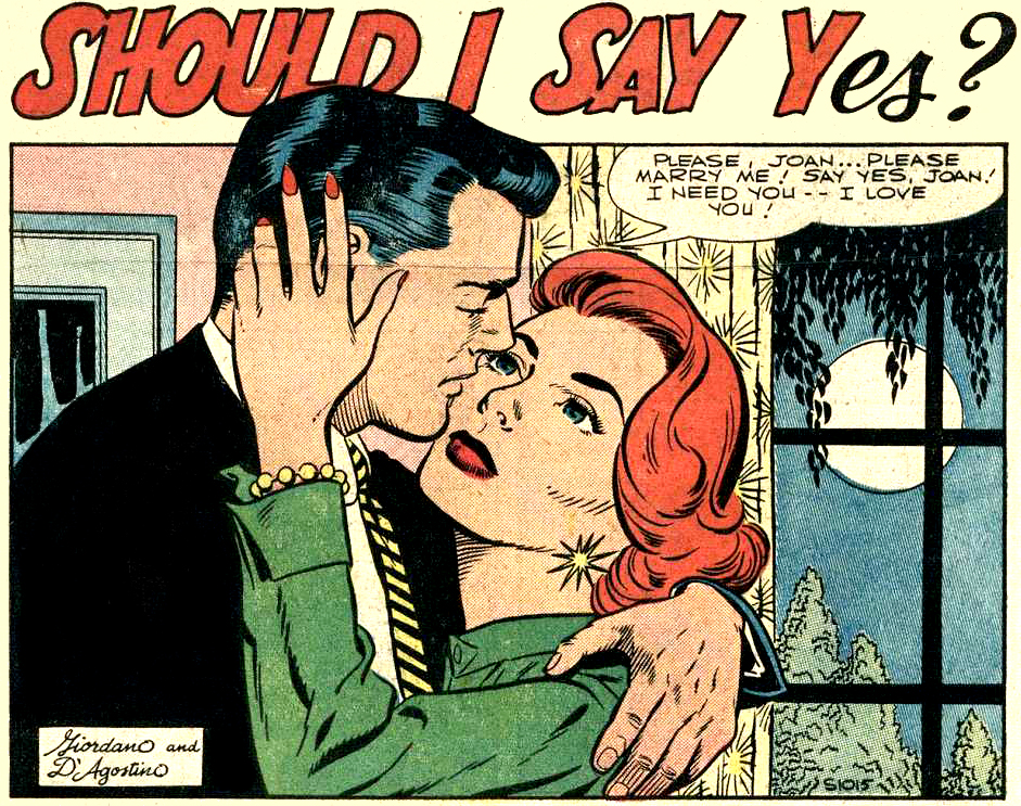 "Art by Dick Giordano & Jon D'Agostino from ""Should I Say Yes?"" in BRIDES IN LOVE #1, 1956."