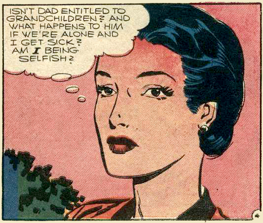 "Artist unknown. Art from ""Love is for Living"" in BRIDES IN LOVE #3, 1957."