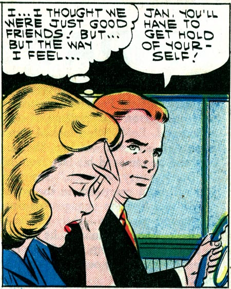 "Artist unknown from ""Suddenly...it's Love"" in First Kiss #19, 1961."
