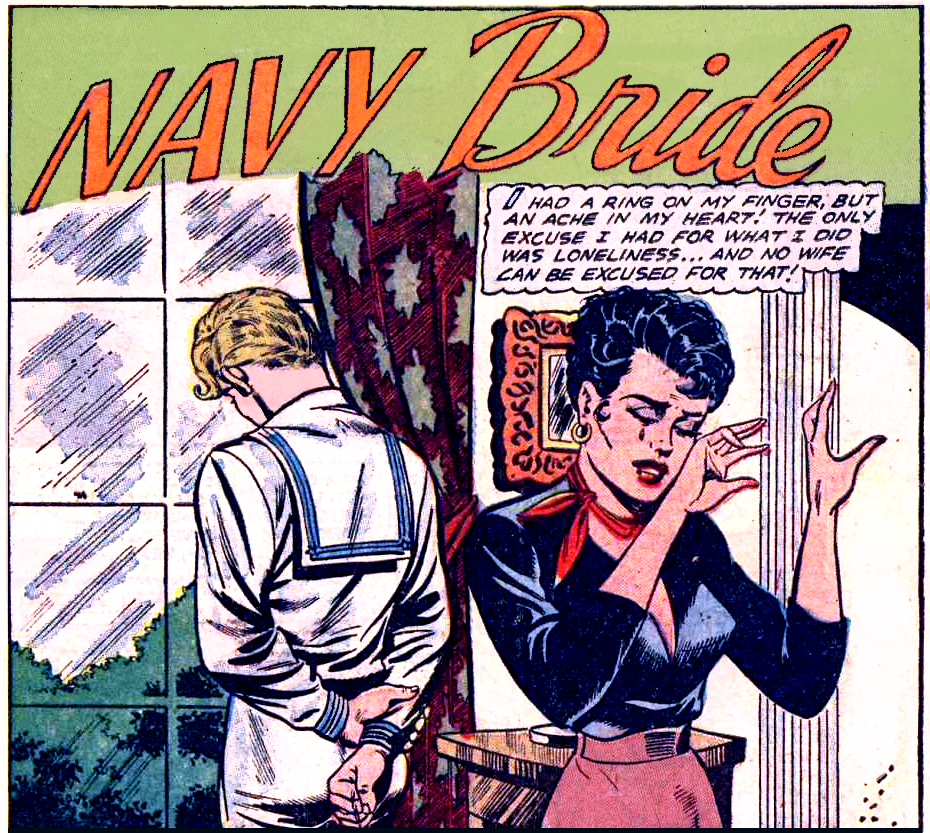 "Artist unknown from ""Navy Bride"" in G.I WAR BRIDES #1, 1954."