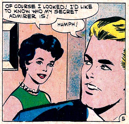 "Art by Vince Colletta Studio from the story ""A Bouquet of Roses"" in FIRST KISS #20, 1961."