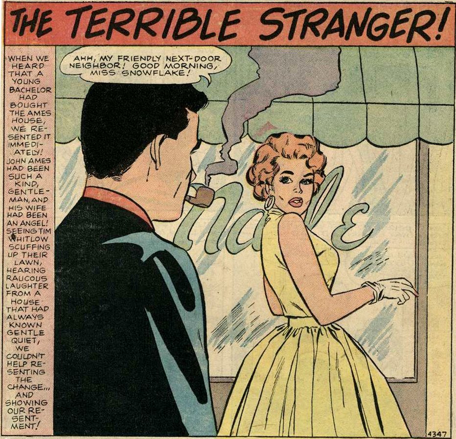 "Art by Vince Colletta Studio from the story ""The Terrible Stranger"" in BRIDES IN LOVE #10, 1958."