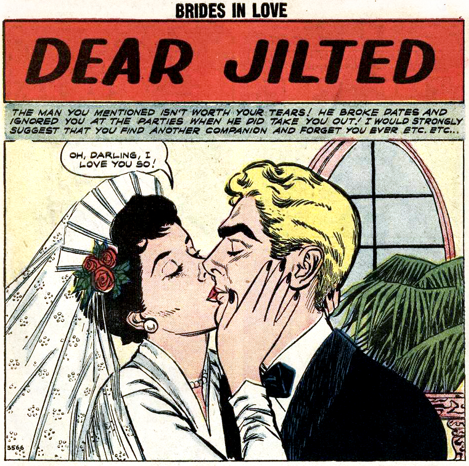 "Art by John Tartaglione in ""Dear Jilted"" from BRIDES IN LOVE #8, 1958."