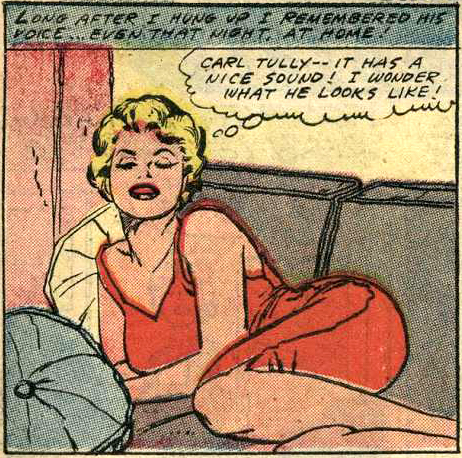 "Art by Charles Nicholas & Vince Colletta from the story ""Possessed"" in BRIDES IN LOVE #8, 1958."