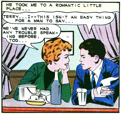 "Art by the Vince Colletta Studio from ""Symphony of Love"" in FIRST KISS #39, 1964."