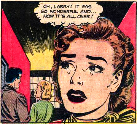"Art by Nick Cardy from ""Good-Time Girl!"" in MY REAL ROMANCE #5, 1952."