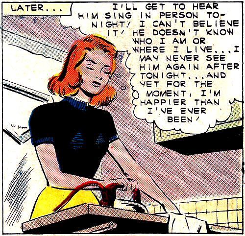 "Art by Charles Nicholas & Vince Alascia from the story ""Take My Number"" in FIRST KISS #21, 1961"