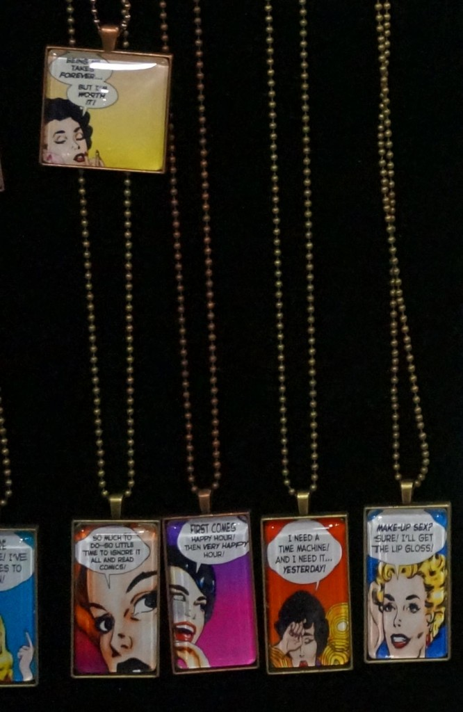 A closeup of a few of Debbie's Last Kiss pendants.