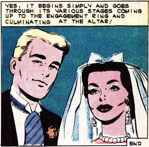 "Art by Vince Colletta Studio in the story ""Her Engagement Ring"" in FIRST KISS #22, 1961."