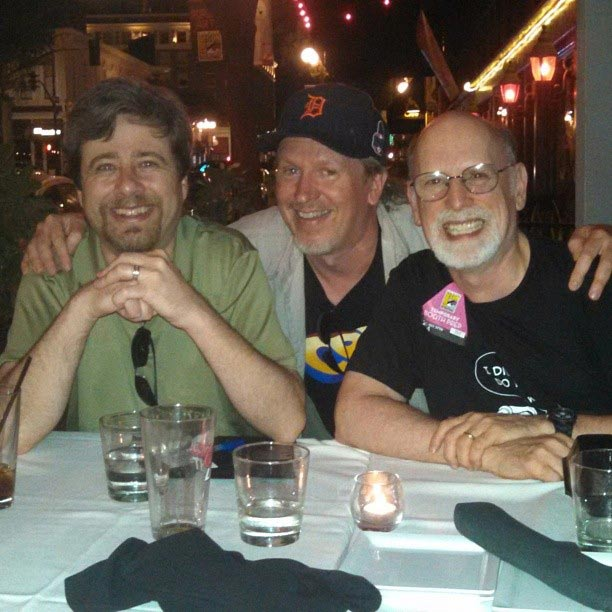 After the show on Sunday night, I celebrated with a couple of friends from my Comics Buyer's Guide days---John Jackson Miller (left) and Jim Johnson. After surviving a stint being my editor at CBG, John went on and became a New York Times best selling author for his Star Wars novels. Jim is a reviewer for Comic Book Resources.
