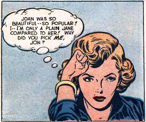 "Artist unknown. From the story ""Deception"" in ROMANTIC MARRIAGE #4, 1950."