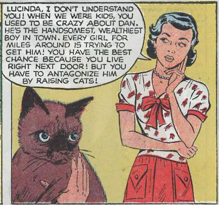 "Artist unknown. Art from ""Chip on Her Shoulder"" in Ten-Story Love #196, 1954."