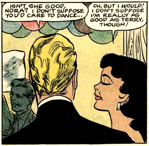 "Art by Charles Nicholas & Sal Trapani from the the story ""His Future Bride"" in BRIDES IN LOVE #10, 1958."