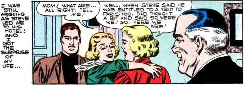 "Art by Charles Nicholas & Sal Trapani from the story ""One Stolen Kiss"" in FIRST KISS #1, 1957."