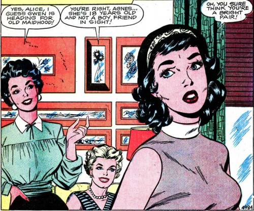 "Art by Vince Colletta Studio from the story ""The Gay Deception"" in FIRST KISS #8, 1959."