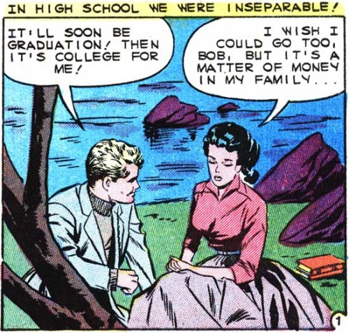 "Artist unknown (although it's likely Vince Colletta.) From the story ""You Can Never Tell"" in FIRST KISS #10, 1959."