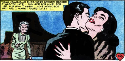 "Art by Vince Colletta Studio from ""Love Comes Later"" from FIRST KISS #15, 1960."