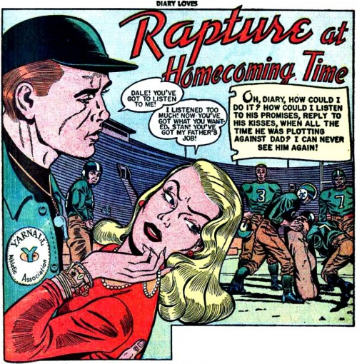 "Art by Bill Ward from the story ""Rapture at Homecoming Time"" in Diary Loves #8, 1951."