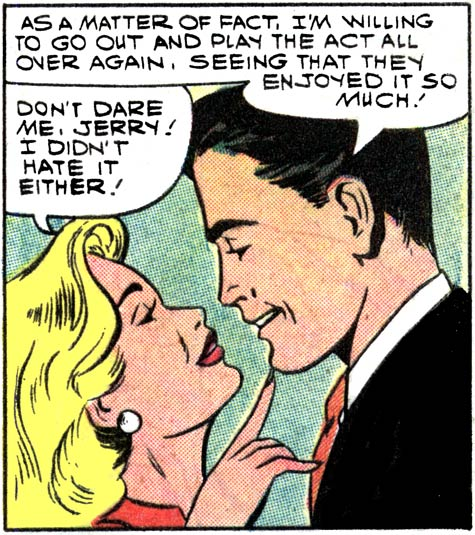 """Artist unknown. Art from the story """"Bachelor's Farewell"""" in FIRST KISS #7, 1959."""